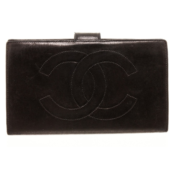 CHANEL Handbags - Chanel Black Leather Timeless French Purse Wallet